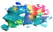 Quadro Multicolored watercolor splash