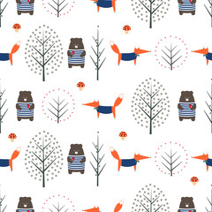 Fox, bear, autumn trees and mushroom seamless pattern on white background. Cute scandinavian style nature illustration. Autumn forest with animals design for textile, wallpaper, fabric.