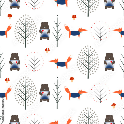 Fox, bear, autumn trees and mushroom seamless pattern on white background. Cute scandinavian style nature illustration. Autumn forest with animals design for textile, wallpaper, fabric. - 125844740