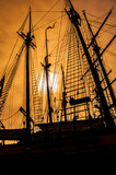 old sailing ship rigging - 125848375