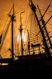old sailing ship rigging - 125848375