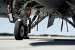 Fighter aircraft detail with landing gear