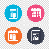 Report document, calendar icons. Paper towels sign icon. Kitchen roll symbol. Transparent background. Vector