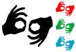 Icono plano lenguaje de signos varios colores