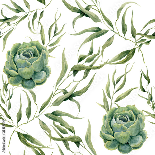 Watercolor succulents and eucalyptus leaves seamless pattern on white background. Floral texture for design, textile and background. - 125859344
