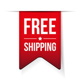 Free Shipping ribbon red vector - 125860309