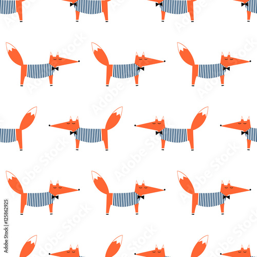 Cotton fabric French style fox seamless pattern. Cute cartoon foxy vector illustration. Child drawing style animal background. Fashion design for fabric, textile.