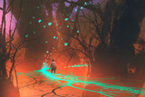 kid walking on fantasy bridge with glowing blue light in mystical forest,illustration painting
