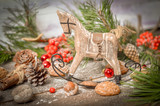 New Year Decoration with Vintage Wooden Horse