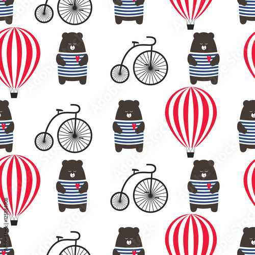 Materiał do szycia Bear with bicycle and hot air balloon seamless pattern. Cute cartoon teddy with retro transport vector illustration. Child drawing style adventure background. Design for fabric, textile etc.