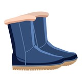Pair of blue winter shoes icon. Cartoon llustration of pair of blue winter shoes vector icon for web
