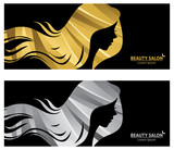 Vector template banner or business card stylized long-haired wom