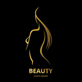 Fototapety Vector template logo for beauty salon stylized long haired woman