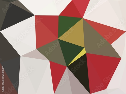 Red , white and black triangle abstract background illustration - 125871589
