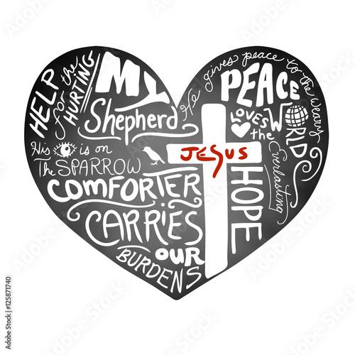 wektor-serce-tablica-z-bialym-odrecznym-tekstem-typografii-z-chrzescijanskiego-krzyza-i-jezusa-w-czerwone-litery-inspirujacy-projekt-biuletynu-kosciola-pokoj-milosc-i-pomoc-dla-koncepcji-krzywdzenia