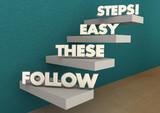 Follow These Easy Steps Directions Lesson Learning 3d Illustrati