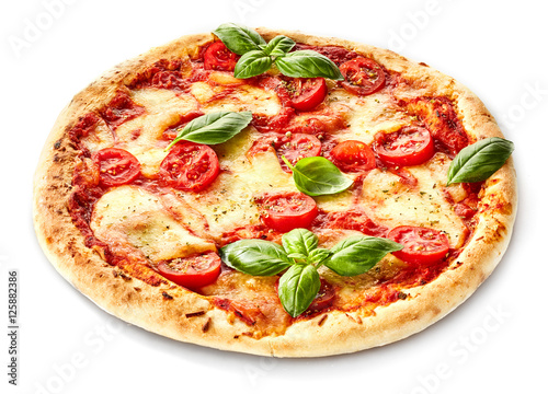 Fototapeta Margherita pizza garnished with fresh basil