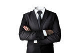 businessman without head isolated crossed arms - 125882791