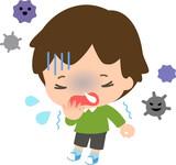 風邪をひいた男の子とウイルス