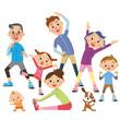 体操をする三世代家族
