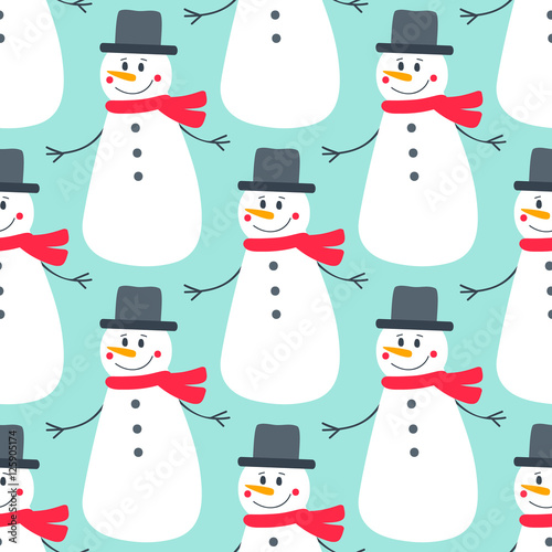 Materiał do szycia Cute flat snowman. Vector seamless pattern with hand drawn holiday snowmens. Nice Christmas background for your design. On blue backdrop.
