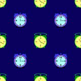 Alarm Clock Seamless Pattern on Blue Background