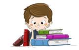 Niño con libros. Niño haciendo los deberes o leyendo