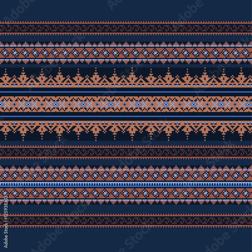 Fototapeta Ethnic ornamental background in blue and brown colors