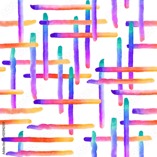 Pattern with watercolor hand drawn elements - 125942509