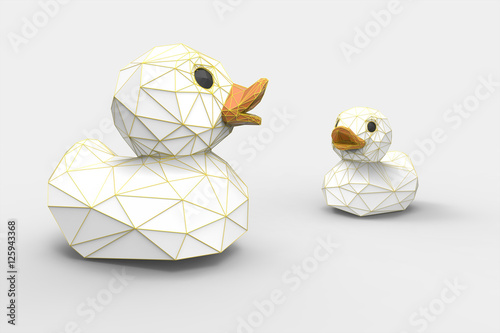 white Rubber ducks Polygon Art isolated on white background