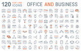 Set Vector Flat Line Icons Office and Business - 125943515