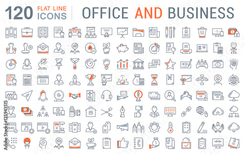 Set Vector Flat Line Icons Office and Business © andrei45454