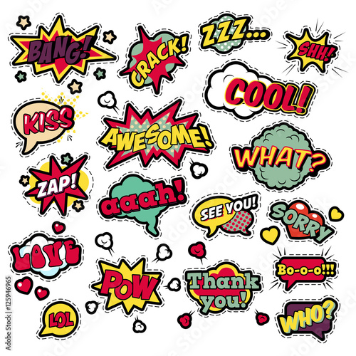 Fotobehang Pop Art Fashion Badges, Patches, Stickers in Pop Art Comic Speech Bubbles Set with Halftone Dotted Cool Shapes with Expressions Cool Bang Zap Lol. Vector Retro Background