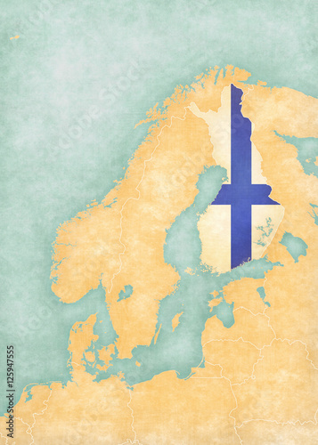 Poster Map of Scandinavia - Finland