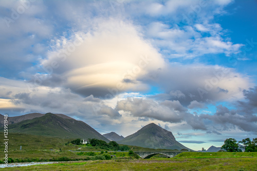 Deurstickers UFO Lenticular cloud over Cuillin hills, Isle of Skye, Scotland