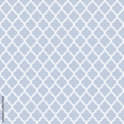 Light Blue and White Moroccan Pattern Design Geometric Digital Illustration  - 125953730
