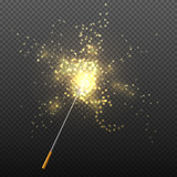 Fototapety Realistic magic wand with sparkles isolated on transparent checkered background vector illustration