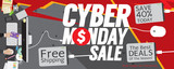 Cyber Monday Sale 8000x3200 pixel Banner Vector Illustration