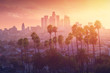Los Angeles hot sunset view with palm tree and downtown in background. California, USA