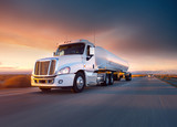 Truck cistern and highway at sunset - transportation background - 125968788