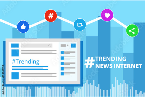 the hashtag sign of trending topic and viral marketing in internet and social media