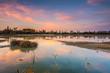 colorful sundown at swamp