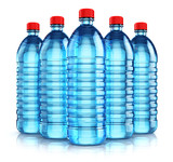 Group of blue plastic drink water bottles