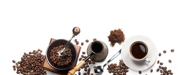 coffee attributes on a white background © butenkow