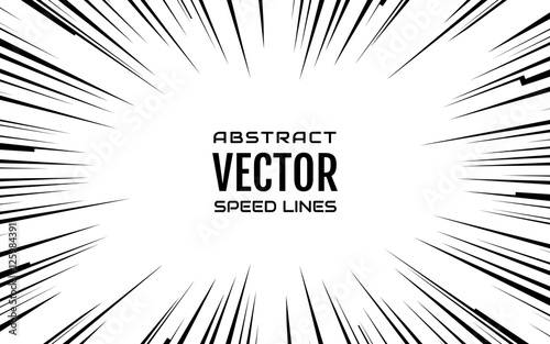 Black comic radial speed Lines on white base in 16:10 ratio. Effect power explosion illustration. Comic book design element. Graphic Explosion with Speed Lines in comic book style. Vector Illustration - 125984391