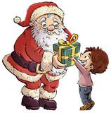 santa claus con niño y regalo