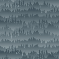 vector mountains forest background texture seamless pattern