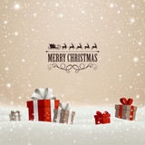 Fototapety Vector Illustration of a Christmas Holiday Design with Gift Boxes