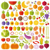 Fototapety Fruits and vegetables flat icons set. Colorful flat design graphic elements collection. Vector icons, vector illustrations