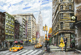 Fototapety oil painting on canvas, street view of New York, man and woman, yellow taxi,  modern Artwork,  American city, illustration New York